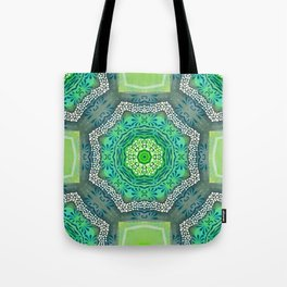 Octagon Kaleidoscope Flower in Green Turquoise and Gray Tote Bag