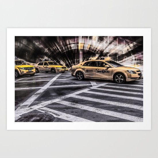NYC - Yellow Cabs on the 5th Street Art Print