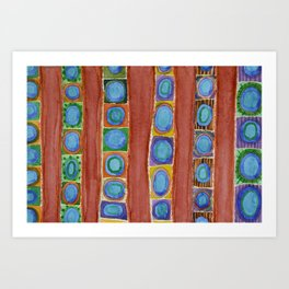 Blue Circles Within Red Stripes Art Print