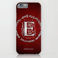 Joshua 24:15 - (Silver on Red) Monogram E iPhone 6s Slim Case
