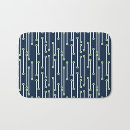 Dotted Lines in White, Lime and Navy Bath Mat
