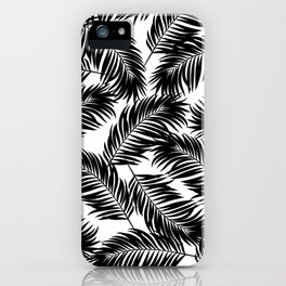 Palm Frond Tropical Décor Leaf Pattern Black on White iPhone Case