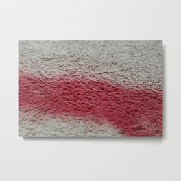 white wall, red spray paint Metal Print