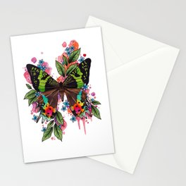 Neo Traditional Sunset Moth and flowers Stationery Cards