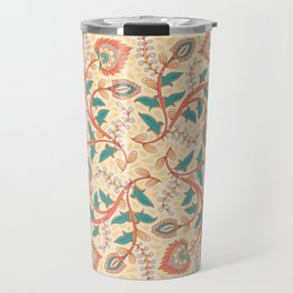 Square decorative design with ornament of flowers and leaves. Travel Mug
