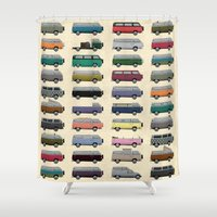 van Shower Curtains featuring Camper Van by WyattDesign