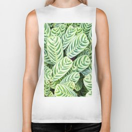 Botanical green white natural tropical leaves Biker Tank