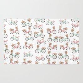 vintage pastel pink coral bicycle floral pattern Rug