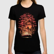 Burning In The Skies Black LARGE Womens Fitted Tee