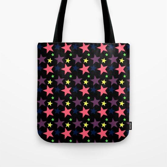 Happy Stars on Black Tote Bag