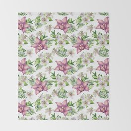 Orchids. White pattern Throw Blanket