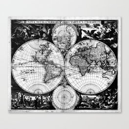 Vintage Map of The World (1685) Black & White Canvas Print