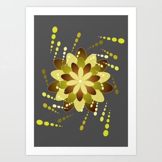 Green On Grey Art Print