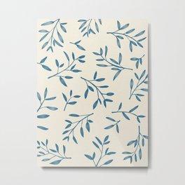 Leaf Pattern Watercolor - Blue Metal Print