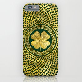 Irish Four-leaf clover with Celtic Knot iPhone Case