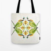 soul eater Tote Bags featuring green bee eater  by Manoou