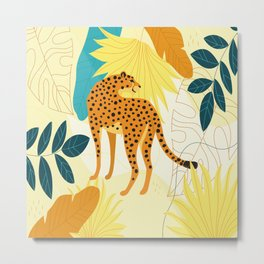 Cheetah colourful tropical leaves wallpaper, wildlife camouflage leopard print, trendy illustration Metal Print