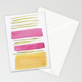 17   |181026 Lines & Color Block | Watercolor Abstract | Modern Watercolor Art Stationery Cards