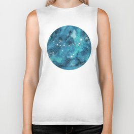 Capricorn zodiac constellation on navy blue Biker Tank