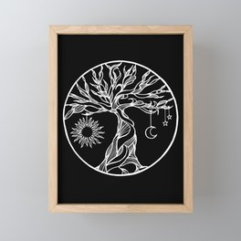 black and white tree of life with hanging sun, moon and stars II Framed Mini Art Print
