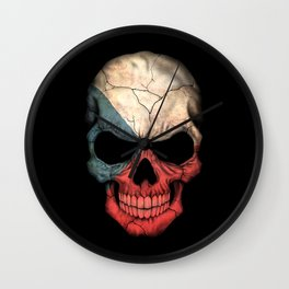 Dark Skull with Flag of Czech Republic Wall Clock