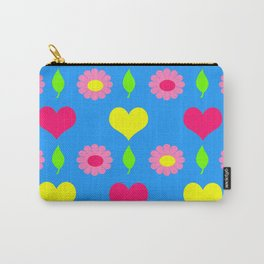Daisy and heart print, turquoise, pink and yellow Carry-All Pouch