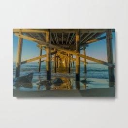 High Tide Under Newport Pier Metal Print