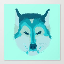 husky - teal Canvas Print