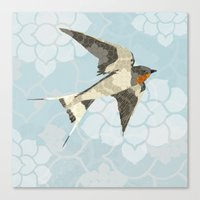 swallow Canvas Prints featuring Swallow by Lorri Leigh Art