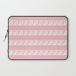 Pink and white Greek wave ornament pattern Laptop Sleeve