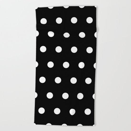 Dots on black Beach Towel