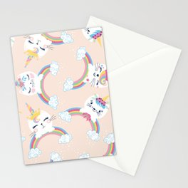 Cute unicorn cat seamless pattern for kids Stationery Cards