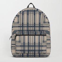 Blue beige plaid Backpack