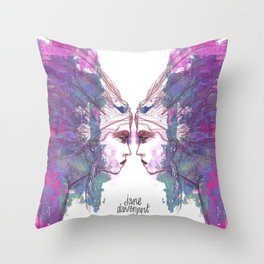 Feathers in her Hair by Jane Davenport Throw Pillow