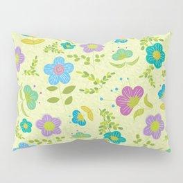 Round Blue Purple Mint Flowers On Soft Green Leaves (pattern) Pillow Sham