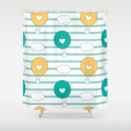 cute lovely cartoon hot air balloons pattern illustration Shower Curtain