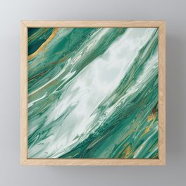 Emerald Jade Green Gold Accented Painted Marble Framed Mini Art Print