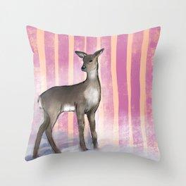 Deer Near Fence  Throw Pillow
