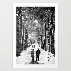 Couple on snowy street Art Print