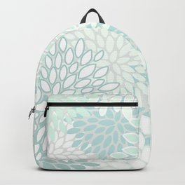 Festive, Floral Prints, Soft Teal, Mint Green and White, Modern Print Art Backpack