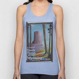 Devils Tower Wyoming vintage camping poster Unisex Tank Top