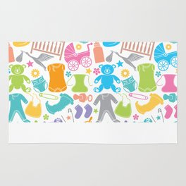 seamless pattern with baby icons Rug