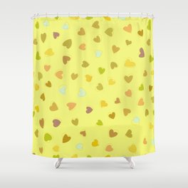 Love, Romance, Hearts - Yellow Green Brown Blue Shower Curtain