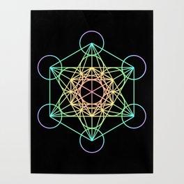 Metatron's Cube- Rainbow on Black Poster