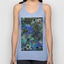 Deep In Thought - Black, blue, purple, white, abstract, acrylic paint splatter artwork Unisex Tank Top