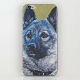 Norwegian Elkhound dog art portrait from anoriginal painting by L.A.Shepard iPhone Skin