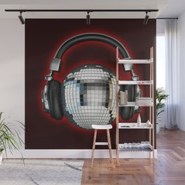 Headphone disco ball Wall Mural