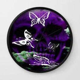 purple butterfly skull Wall Clock