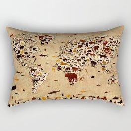 world map animals vintage Rectangular Pillow