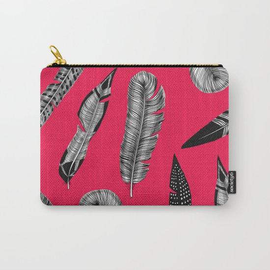 Seamless pattern with various hand drawn feathers on red background. Carry-All Pouch